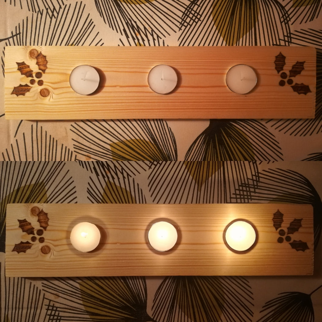 Holly Tealight Board - Mishi Makes - Made In Folkestone