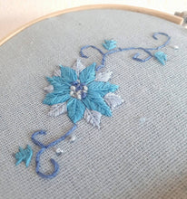 Load image into Gallery viewer, Blue Flower Embroidery Hoop - That Embroidery Girl - Made In Folkestone