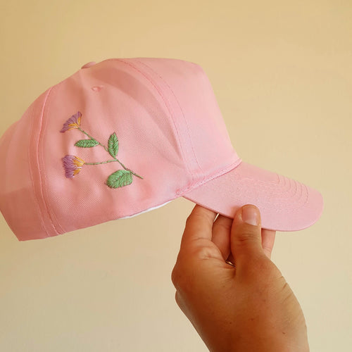 Pink Embroidered Cap - That Embroidery Girl - Made In Folkestone
