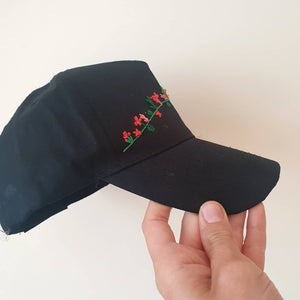 Black Embroidered Women's Cap - That Embroidery Girl - Made In Folkestone