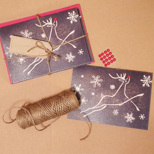 Folkestone's White Horse as Rudolf the Red-Nosed Reindeer Christmas card - PandaBlue Creations