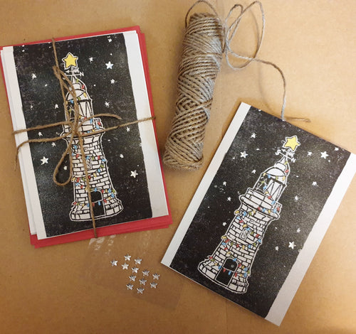Christmas Lights Folkestone Lighthouse Christmas card - PandaBlue Creations