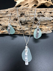 Sea Foam Sea Glass & Silver Jewellery Set - Silver By The Sea - Made In Folkestone