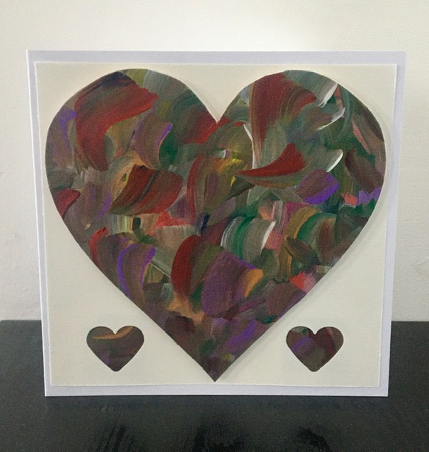 'Heart' Unique Hand Painted Greeting Card - Mandy Aldridge - Made In Folkestone