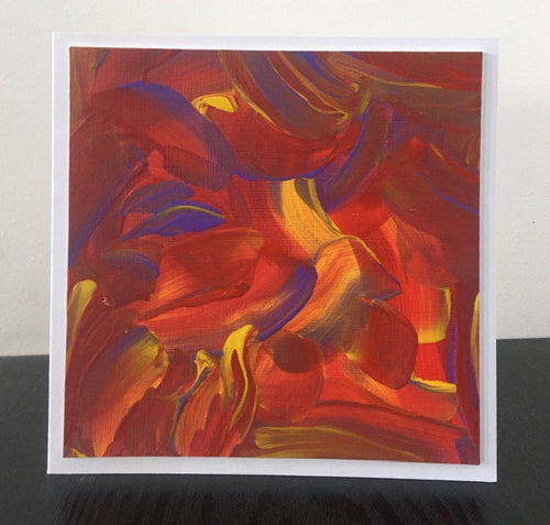'Warm Blaze' Unique Hand Painted Greetings Card - Mandy Aldridge - Made In Folkestone