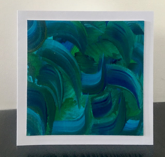 'Blue and Green' Unique Hand Painted Greetings Card - Mandy Aldridge - Made In Folkestone