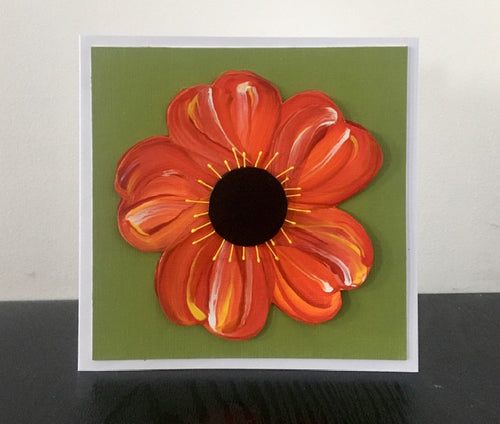 'Poppy' Hand Painted Unique Greetings Card - Mandy Aldridge - Made In Folkestone
