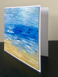 'Sea Waves' Hand Painted Unique Greetings Card - Mandy Aldridge - Made In Folkestone
