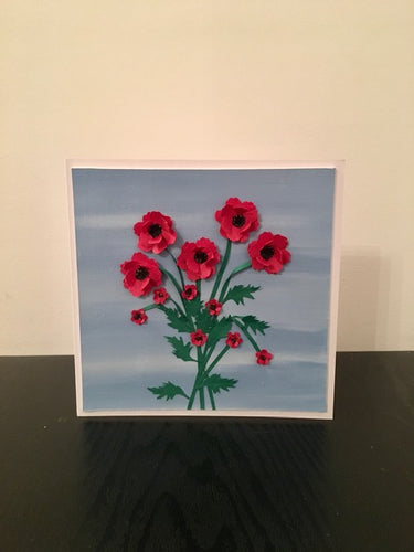 'Wild Poppies' Hand Painted Unique Greetings Card - Mandy Aldridge - Made In Folkestone