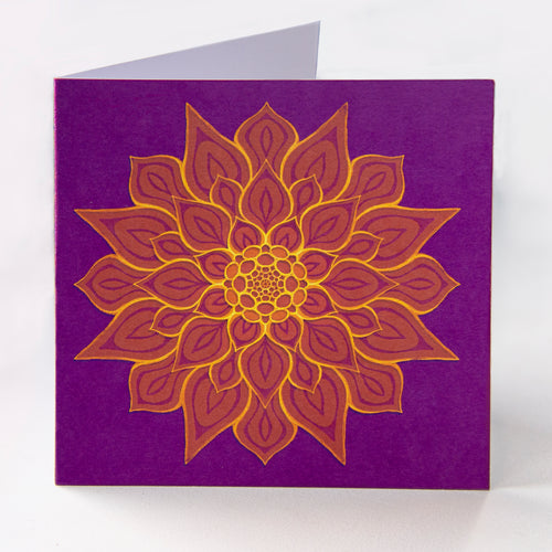 Purple Flower Greetings Card - Goosemoose Paint - Made In Folkestone