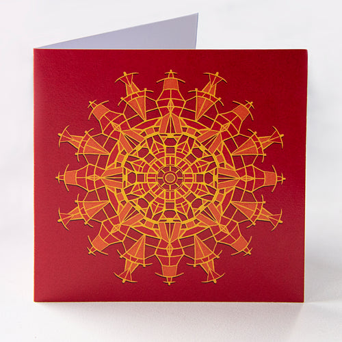Red Pattern Greetings Card - Goosemoose Paint - Made In Folkestone