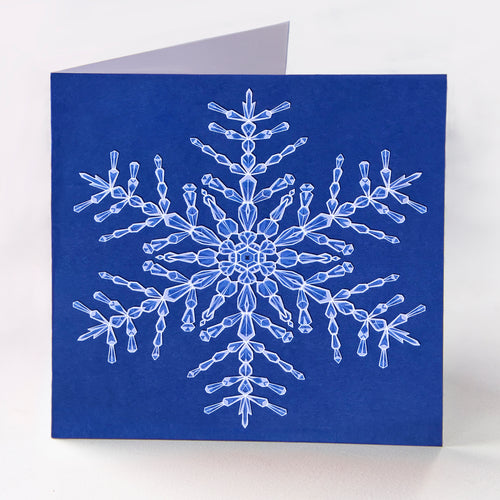 Blue Snowflake Greetings Card - Goosemoose Paint