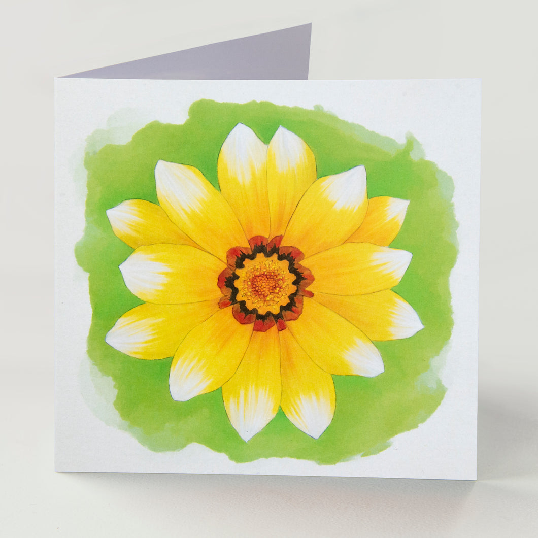 Yellow Gazania Greetings Card - Goosemoose Paint