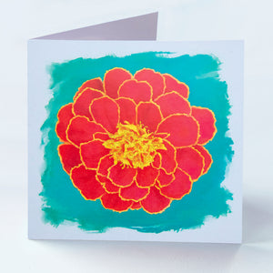 Red Marigold Greetings Card - Goosemoose Paint