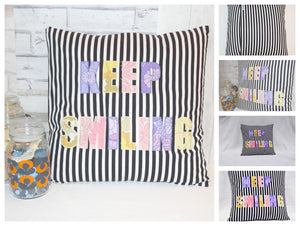 Keep Smiling Cushion - Poppykins - Made In Folkestone