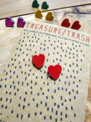 Leather Heart Studs - Jane De Bono - Made In Folkestone