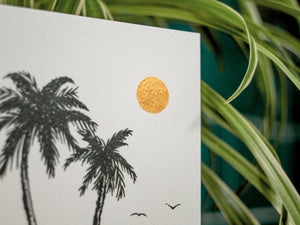 Tropical palm tree card. Folded greeting card including envelope. A6 size, Blank inside - Studio Hoi