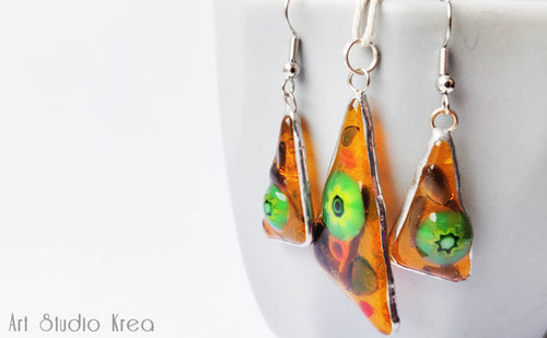 Murano Glass Earrings and Necklace Set - Art Studio Krea - Made In Folkestone