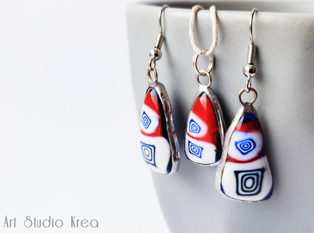 Murano Glass Silver Earring and Necklace Set- Art Studio Krea - Made In Folkestone