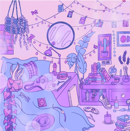 Bedroom At Midday (Purple) - Indigo Abbie Art - Made In Folkestone