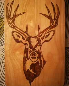 Pyrography Stag's Head - Mishi Makes - Made In Folkestone