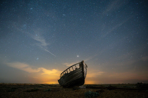 Abandoned Fishing Boat Under Night Sky - Dirk Seyfried