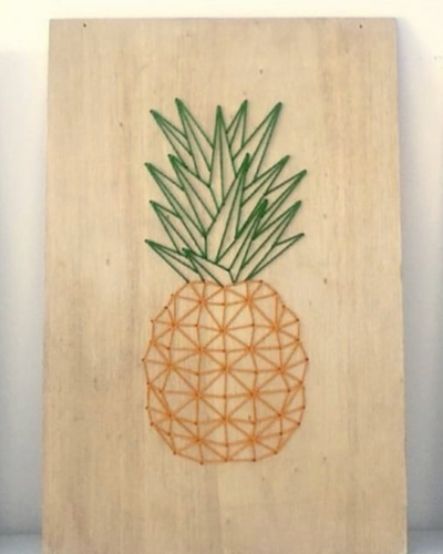 Pineapple Embroidered Wood - Mishi Makes - Made In Folkestone