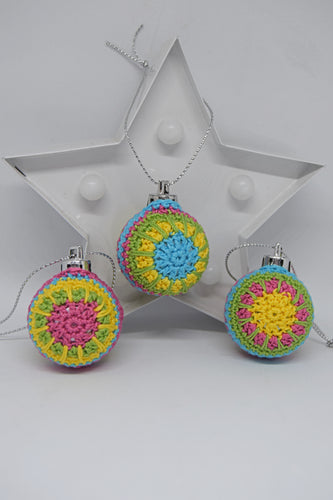 Set of 3 Miniature Crochet Baubles - Poppykins