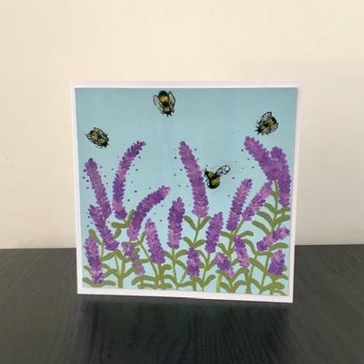 'Bees' Hand Painted Unique Greetings Card - Mandy Aldridge