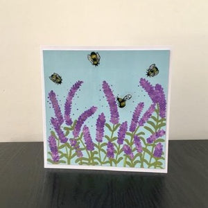 'Bees' Hand Painted Unique Greetings Card - Mandy Aldridge - Made In Folkestone