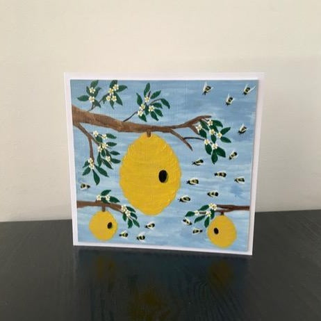 'Bee Hives' Hand Painted Unique Greetings Card - Mandy Aldridge - Made In Folkestone