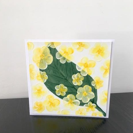 'Leaf and Flowers' Hand Painted Unique Greetings Card - Mandy Aldridge