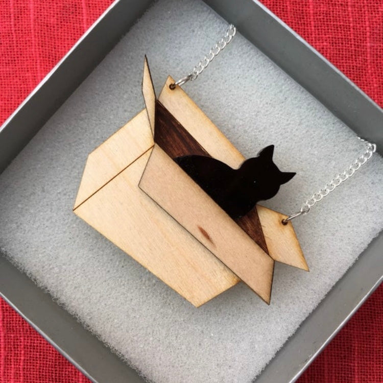 Cat In A Box Necklace Or Brooch - R&R aka 2 Quirky Birds - Made In Folkestone