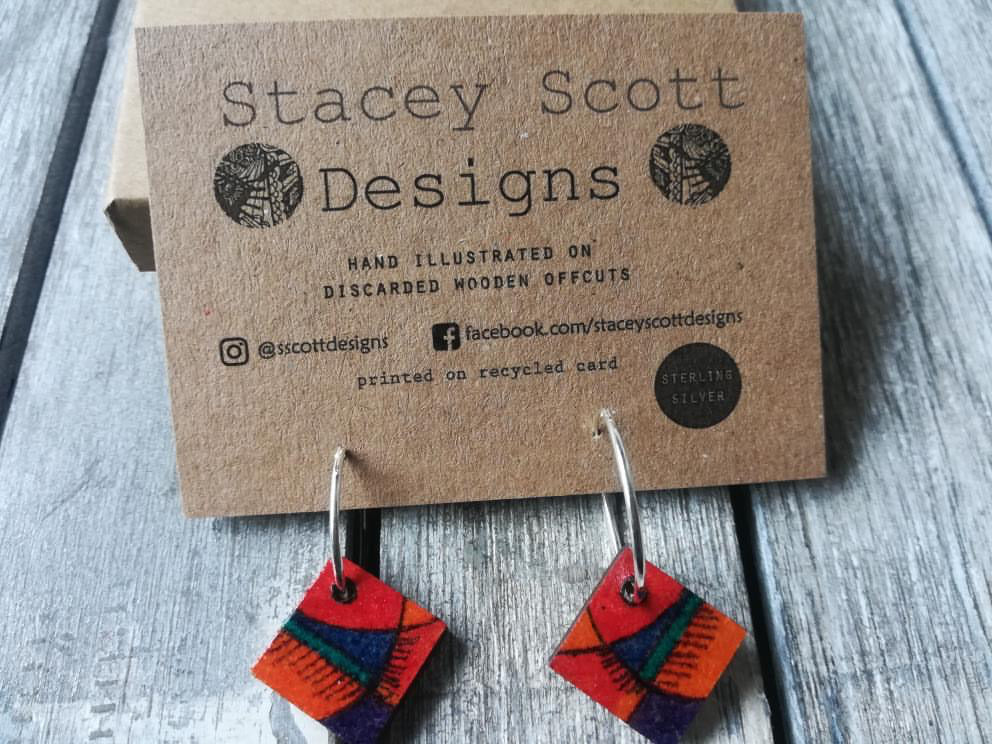 Hand Illustrated Hoop Earrings - S Scott Designs - Made In Folkestone