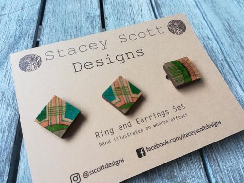 Hand Illustrated Ring & Earring Set - S Scott Designs - Made In Folkestone