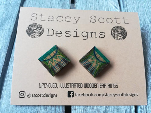 Hand Illustrated Wooden Stud Earrings - S Scott Designs - Made In Folkestone
