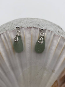 Folkestone Sea Glass Earrings Green Sea Foam (SGGR0028) - Silver By The Sea
