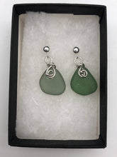 Load image into Gallery viewer, Folkestone sea glass earrings green (SGGR0026)