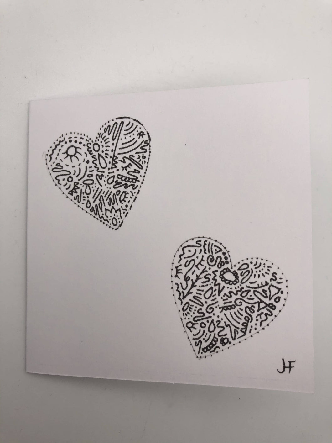 Hand drawn double heart card (0028)