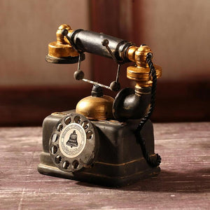 Vintage Rotary Telephone Decor Statue Artist Antique Phone Figurine Decor Model for Home Desk Decoration Holiday Gifts