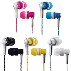 3.5mm Wired Headphone In-Ear Headset Stereo Music Smart Phone Tablet PC Earpiece Earphone Cable Pink
