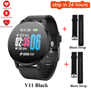 KGG hot V11 Smart Watch Men Women  IP67 waterproof Tempered Glass Activity Fitness Tracker Heart rate monitor sport Smartwatch