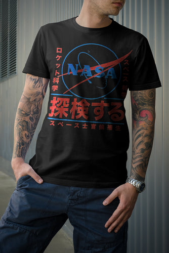 NASA Japanese Logo T-Shirt (Black) - Intergalactic Records