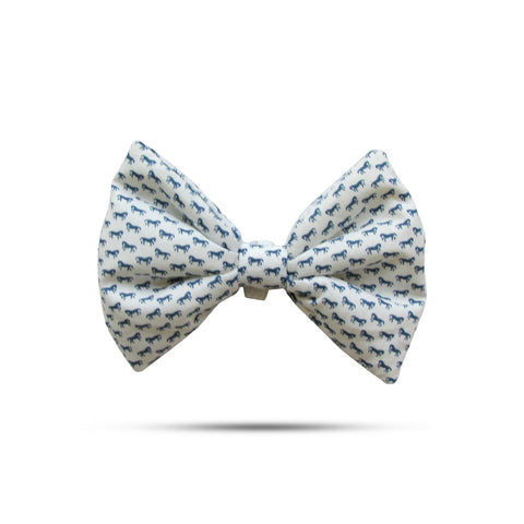 Printed White Bow