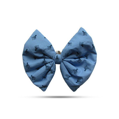 Printed Blue Bow