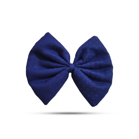 Blended Cotton Navy Blue Bow