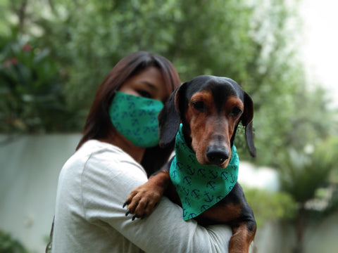 Printed Green Mask & Scarf