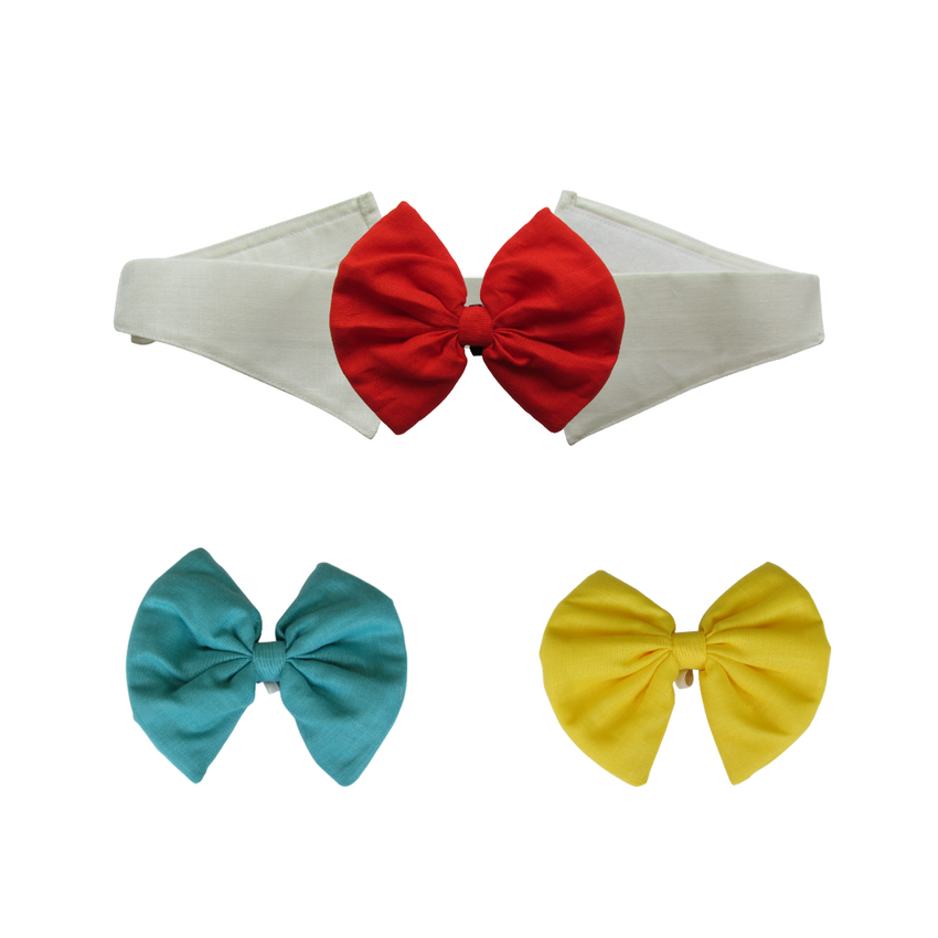 Turquoise, Yellow and Red Bows with Collar
