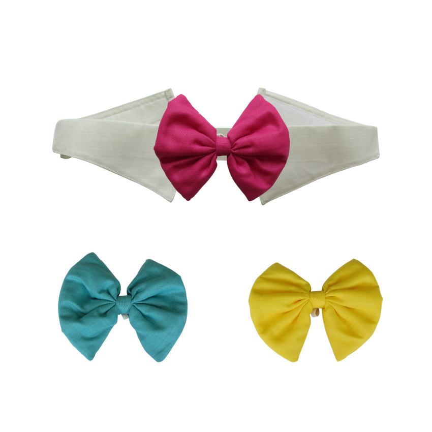 Turquoise, Yellow and Pink Bows with Collar