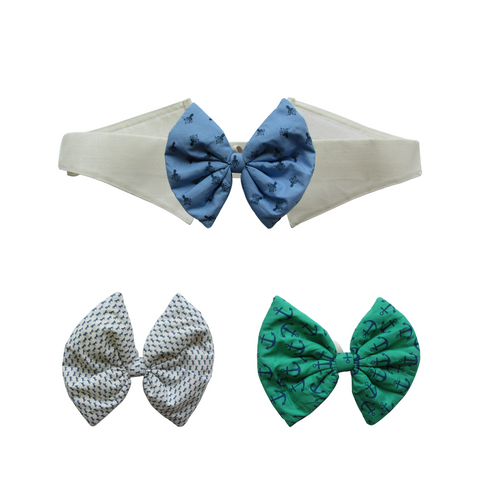Printed Blue, Green and White Bows with Collar